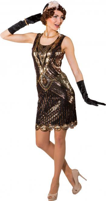 080d1a320995ab Festivalshop - Charleston jurk paillette bronsgoud kort - 0