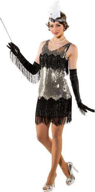 7f45f85564365a Festivalshop - Charleston jurk paillette zilver kort - 0