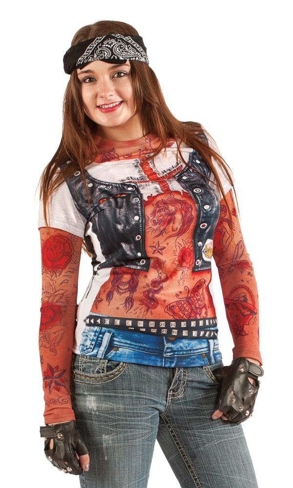 982d89aa9 Festivalshop - Photorealistic Shirt Biker Girl Tattoo - 0