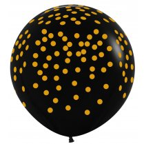 Festivalshop - 1 balloon 90cm black with golden dots - STR36CONF580