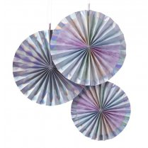Festivalshop - 3 Waaier decoraties iridescent party - GRIP508