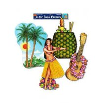 Festivalshop - 4 Luau Cutouts in Karton - BE55945