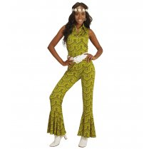 Festivalshop - 70′s Jumpsuit Green Groovy Style - WD08911