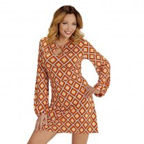 Festivalshop - 70er Jahre Kleid Orange Check Groovy Sty - WD08851