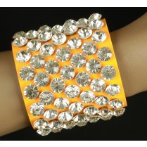 Festivalshop - Bracelet punk neon orange with diamonds - CH8325007524