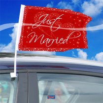Festivalshop - Autovlag Just Married Rood Wit 2st - 21301