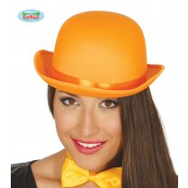 Festivalshop - Chapeau melon orange luxe satin - FG13394O