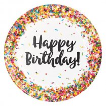 Festivalshop - Bordjes happy birthday sprinkles 8st - WBPC324661