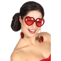 Festivalshop - Spectacles heart velvet red - WI20034