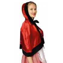 Festivalshop - Cape with hood short satin red - FA45100