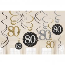 Festivalshop - Decoratie swirls happy birthday 80j - AM671965