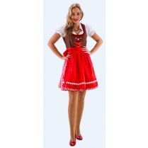 Festivalshop - Dirndl Kleed Short brown red white check - HH2475