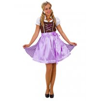 Festivalshop - Dirndl dress brown-purple checked - HH2480