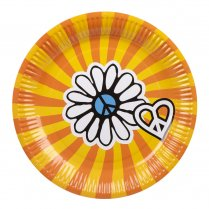 Festivalshop - Assiettes hippy flower power 23cm - BO44530