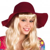 Festivalshop - Chapeau ample Flower Power Bordeaux - BO04369
