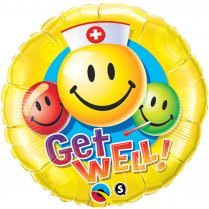 Festivalshop - Folieballon get well soon smiley face - FO29624Q
