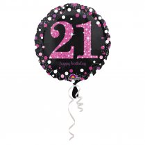 Festivalshop - Folieballon happy birthday 21 roze spark - AM3378401