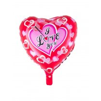 Festivalshop - Folieballon hart rood I love you - 85/85136