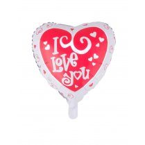 Festivalshop - Folieballon hart wit rood I love you - 85/85138