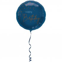 Festivalshop - Folieballon transparant blue birthday - FO66006