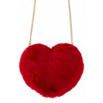 Festivalshop - Handbag fur heart red - PX10176
