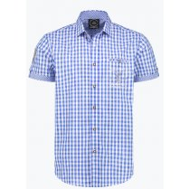Festivalshop - Shirt Tirol blue checkered with short sl - HH2756