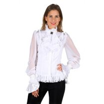 Festivalshop - Shirt white with jabot and brooch - THT22320200