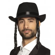 Festivalshop - Black Rabbi David hat with papillots - BO04194