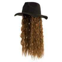 Festivalshop - Hat black with brown long hair - PX76160