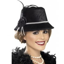 Festivalshop - 1920 Black Hat with Pearls and Flower - SM33445