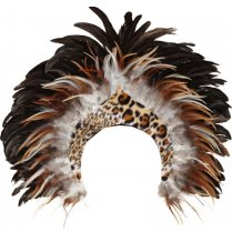 Festivalshop - Headdress with jungle voodoo with feathe - OL46031