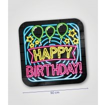 Festivalshop - Huldeschild neon happy birthday! 50cm - PD7012713