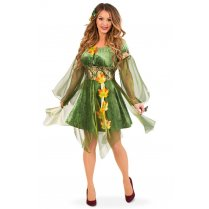 Festivalshop - Dress forest elf green with leaves - PX04276