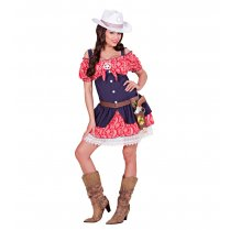 Festivalshop - Cowgirl dress red blue with lace - WD06301