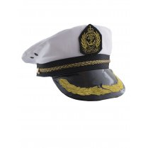 Festivalshop - Captain′s hat White with Gold Finish - 59/59262