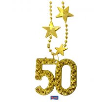 Festivalshop - Necklace Gold plastic 40 years - FO31450