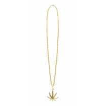 Festivalshop - Collier long en or avec feuille de canna - BO64473