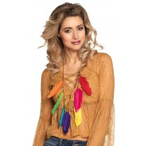 Festivalshop - Long necklace with multi color feathers - BO64514