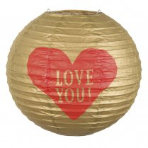 Festivalshop - Lampion gold love with red heart - BO48009