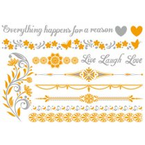 Festivalshop - Live laugh love metallic haar tattoo - TAT0222