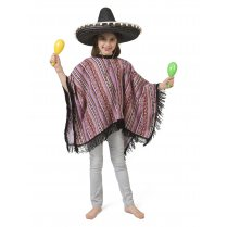 Festivalshop - Mexicaanse poncho kind roze-paars Pedro - 30/401287
