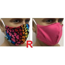 Festivalshop - Mouth mask multi hearts pink Type R. - MA221301R