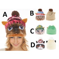 Festivalshop - Cap thickly padded with cat print - CHC4334