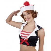 Festivalshop - Cap Marine red / white with Pom Pon chil - BO95805