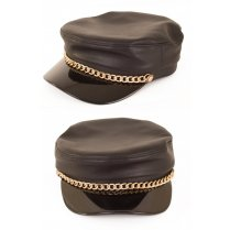 Festivalshop - Cap leather black with chain eighties ro - PX75902
