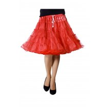 Festivalshop - Petticoat Luxe Half Lang Rood one size - WI4391C