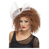 Festivalshop - 80s Wild Child wig brown with bow - SM22141