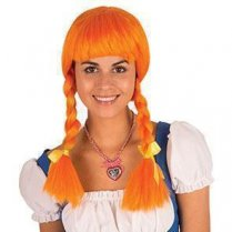Festivalshop - Wig orange Heidi with braids - FA39509J