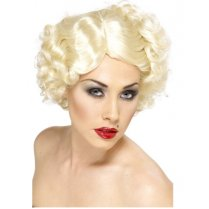 Festivalshop - Pruik Hollywood icon blond kort met krul - SM42187