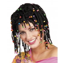 Festivalshop - Wig lady black braids with pearls - BO86365